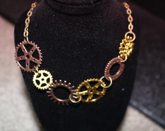 Steampunk cog gear necklace