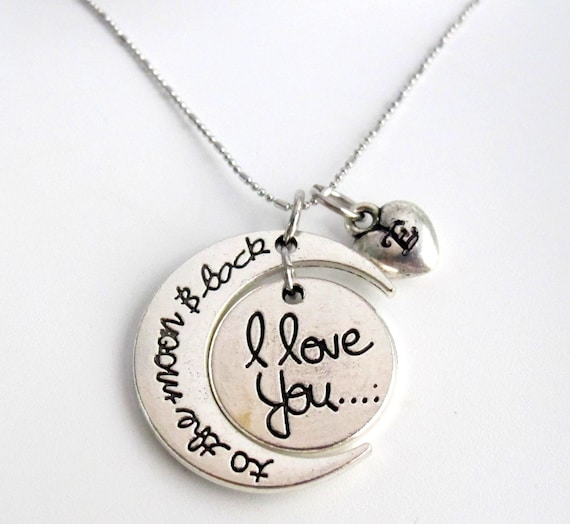 Love You To The Moon, I love you to the moon and back Necklace, Personaized Crescent moon necklace.Heart Initial necklace, Free Shipping USA
