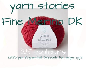 Yarn Stories Fine Merino DK , 25 colour choice , Yorkshire yarn , 100% wool , British wool , West Yorkshire spun , hand knitting , diy gift