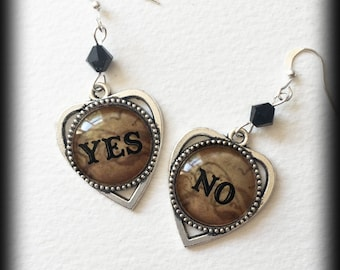 Ouija Earrings, Yes No Ouija Planchette Earrings, Gothic Jewelry, Wiccan Jewelry, Occult Jewelry, Gothic Gift, Witch Jewelry, Occult Gift