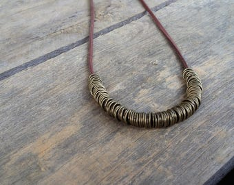 cord necklace, brown necklace