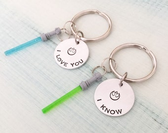 I Love You I Know Star Wars Keychains-Handstamped Hans Solo-Light Saber charm-I Love You I Know-Couples keychains-Hand Stamped Jewelry-