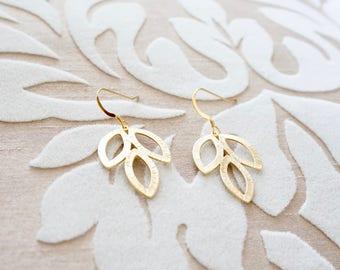 Gold Leaf Earrings - Dainty Gold Earrings, Modern Earrings, Simple Earrings, Everyday Earrings, Nature Inspired Jewelry, Leaf Jewelry