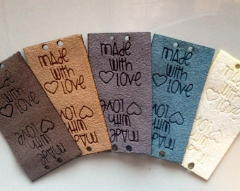 Product tag, ultra suede, fabric custom tag, personalized, suede tag, engraved tag, button, knitting button, craft button, business tag,