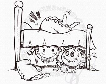 Monster Under the Bed DIGITAL STAMP Instant Download