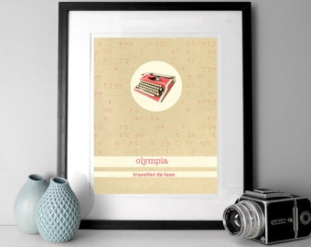 Digital Print Typewriter Olympia poster print Photography, vintage typewriter print, mixed media print