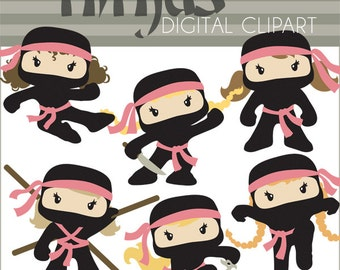 Ninja Clipart -Personal and Limited Commercial- Cute Girl Ninjas Clip art