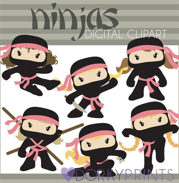 ninja clipart -personal and limited commercial- cute girl ninjas