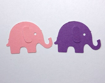 100 Purple and Pink Elephant Confetti, Elephant Cutouts, Party Supplies for First Birthday Girl, Baby Shower, Elephant Theme Party Decor