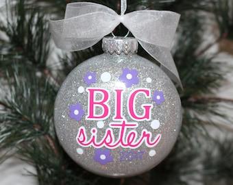 Big Sister Ornament, Big Sister Gift, New Big Sister Christmas Ornament, Glass Ornament Gift