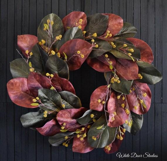 Autumn Magnolia Leaf Wreath