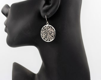 Round sterling silver wire worked drop earrings for pierced ears marked 925