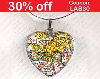Cincinnati Map Pendant, Cincinnati Necklace, Jewelry, Cincinnati Ohio, OH, Map Necklace, Ohio Necklace, Map, Heart, Gift, Charm, Home City