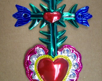 Large Colorful Painted Sacred Heart Milagro Ex Voto - Foliated Cross - Mexico