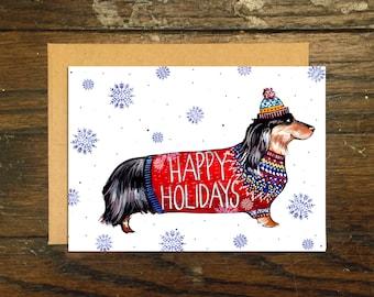 Happy Holidays Wiener Dog Greeting Card