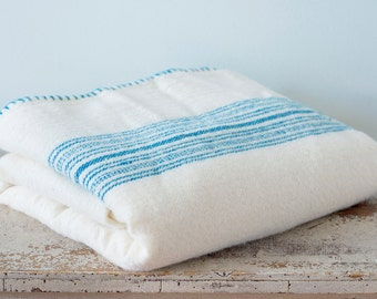 Rare Early Hand Woven Wool Blanket in a Cream Color With Blue Stripes - Large