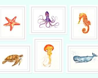 Sea Print, Sea Life Print, Set of 6 Prints, Sea Life Wall Decals, Sea Life Wall Art, Sea Life Watercolor, Sea Life Wall Decor, Beach house