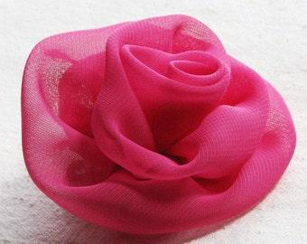 Fabric flower hair clip, hot pink rose in sheer chiffon, medium size