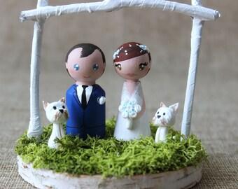 Wedding cake topper figurines: Custom Cake topper - Dog cake topper - Garden wedding - Bride and Groom - Peg doll cake topper