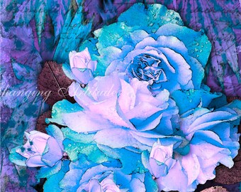 Printable Rose Print, Purple Roses Print, BLue Roses Print, Purple and Blue Roses, Abstract, Home and Wall Decor, Roses, Abstract Background