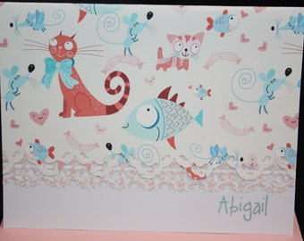 Turquoise and pale green Whimsical  Cat Note Cards - Personalization may be added to a set of 10