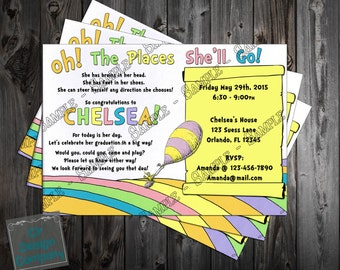 Oh The Places You'll Go Graduation Party Invitation Printable