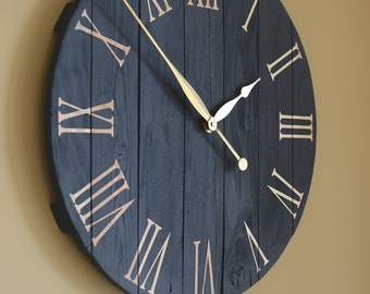 "Art.03. 25""/63cm Navy blue wall clock. Large wall clock. Farmhouse decor. Wall art. Rustic home decor. Clocks"