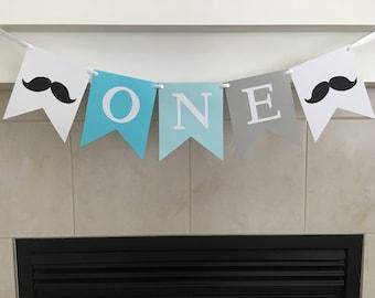 First Birthday Banner, Little Man Birthday Banner, 1st Birthday Banner, Moustache Birthday, Photo Prop, Boy Birthday, Highchair Banner