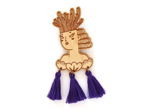 Mermaid brooch - wooden pin - purple tassels - woman with coral on her head and shells on her chest - lasercut jewelry - wood jewellery