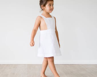 White Pinafore, Girls Dress, Summer Dress, Pinafore Dress, Cotton Dress, Sailor Pinafore Dress White