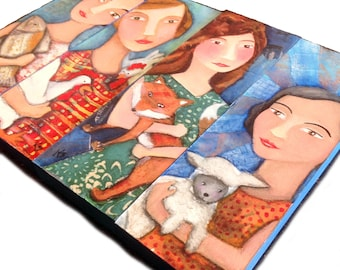 mixed media 4 x 12 MOUNTED print series of little ladies