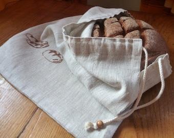 Linen bread bag, Drawstring bread bag, Natural linen bag for bread.