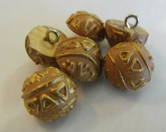 10 Wood Ball with Gold Shank Round Buttons Size 5/8""