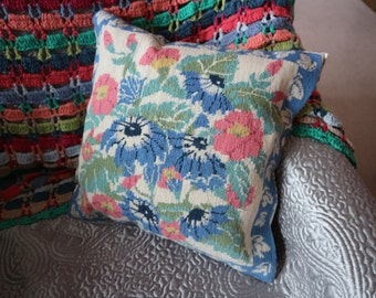 Pretty floral needlepoint cushion cover chintz back