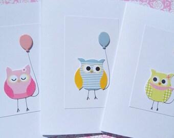 Kids Birthday Card - Cute Birthday Card - Balloon Card- Baby Owl Card - Girl Birthday Card - Boy Birthday Card - First Birthday Card - OCD