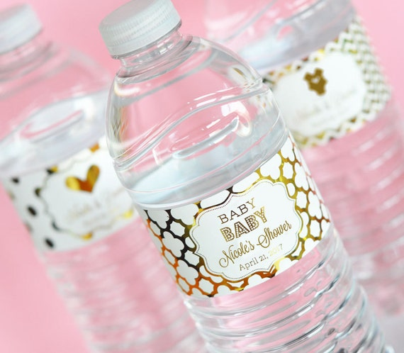 Baby shower water bottle labels pink and gold baby shower for Decor water bottle