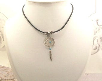 Choker leather Dream catcher or blue bead Dreamcatcher