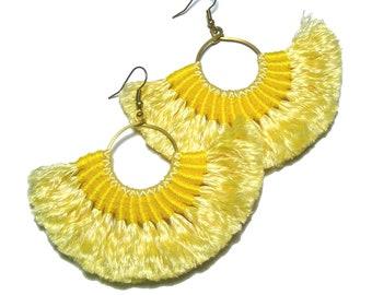 Yellow Fan Tassel Earrings, Fringe Fan Tassel Earrings, Sweet Pastel Earrings, Solid Yellow Earrings, Bohemian Style