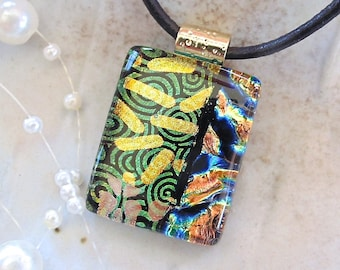 Gold, Copper Necklace, Petite, Dichroic Glass Pendant, Fused Glass Jewelry, Necklace Included, One of a Kind, Gold, A3