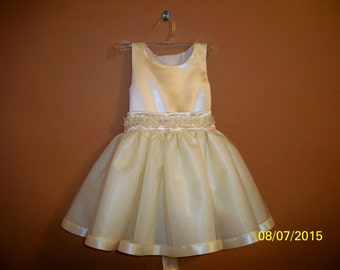Girls Ivory Satin Special Occasion Dress.