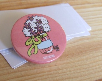 Flower on a Vase Badge or Magnetic - 38mm Small Pin - Illustration  - Fridge Decoration - Pinback Button