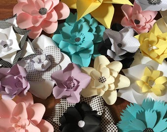 Paper flowers/Pastel paper flowers/black and white polka dot flowers/ pink paper flowers/cream paper flowers/tiffany blue paper flowers/lave