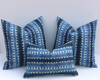 Indoor Outdoor Mudcloth Pillow / Indigo Striped Pillow Cover / 18x18 16x16 16x24 14x36 26x26 Outdoor Pillow Covers OD3