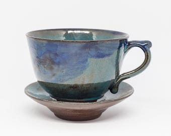 Handmade ceramic cup with saucer. Cappuccino blue pottery coffee cup Large ceramic pottery mug Ceramic blue cup Pottery mug Ceramic mug
