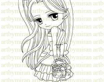 Digital Stamp-Spring Happiness(#111), Digi Stamp, Coloring page, Printable Line art for Card and Craft Supply