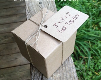"""HALF CASE  • 50 Each  ~ 3"""" x 3"""" x 3""""  Natural Kraft  Tuck Top • Bakery Boxes • Gift Box  -  Cookies • Pastries - Boxes Only"""