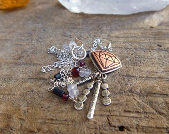 """Diamond stamped copper and sterling silver necklace // 16"""" chain // Sterling Silver jewelry // Garnet Moonstone Hematite"""