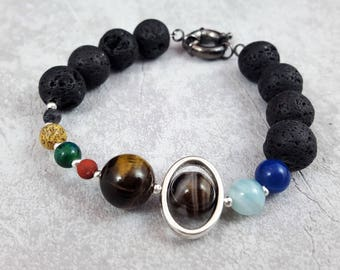 Astronomy Space Jewellery, Solar System Bracelet, Geek Jewelry, Galaxy Bracelet, Planets Gift, Science Present, Gift for Him, Sci-Fi Gift