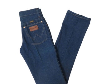 Vintage 70s Deadstock Wrangler Dark Wash High Waisted Stright Leg Jeans Size 28x36