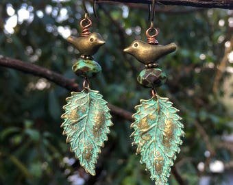 Brass Snowbird Earrings    Green Patina Leaves Brass Birds   Earthy   Organic   Boho   Hippie   Limited Edition   Woodland Earrings Under 20